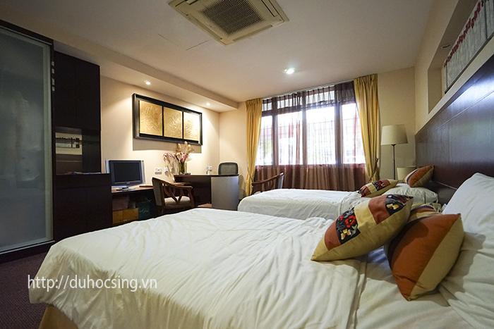 Khu thực hành về du lịch, ngoài quầy bar, MDIS còn thiết kế một khu buồng phòng mô phỏng khách sạn 5 sao để sinh viên thực tập