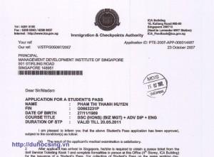 Những hình ảnh IPA (thư xác nhận có visa) của những học sinh tiêu biểu Du học Singapore năm 2007