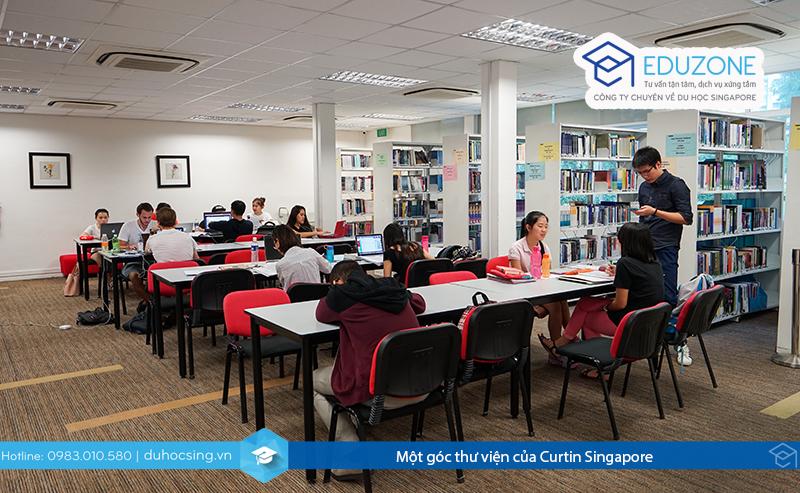 Một góc thư viện của Curtin Singapore
