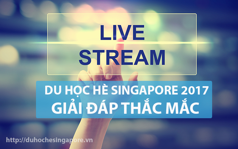 Hand pressing Live Stream on blurred cityscape background