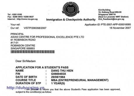 Chúc mừng em Đặng Thu Hiền đạt visa du học Singapore trường ACPE