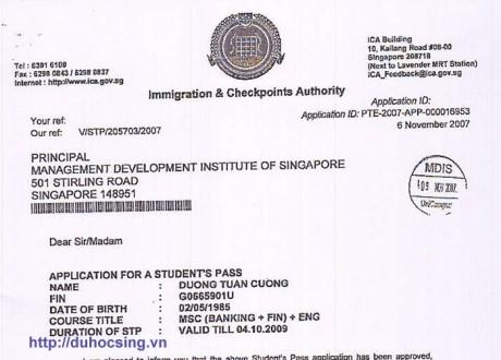 Chúc mừng Dương Tuấn Cường đã nhận được visa du học Singapore