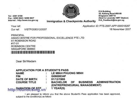Tin visa: Học sinh Lê Minh Phương Minh du học Singapore trường ACPE
