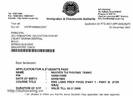 Chúc mừng Nguyễn Thị Phương Trang đạt visa
