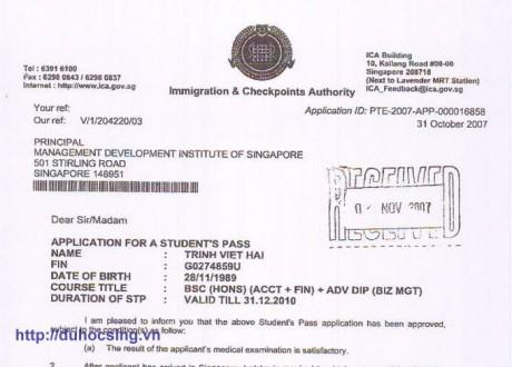 Chúc mừng em Trịnh Việt Hải đã đạt visa du học Singapore