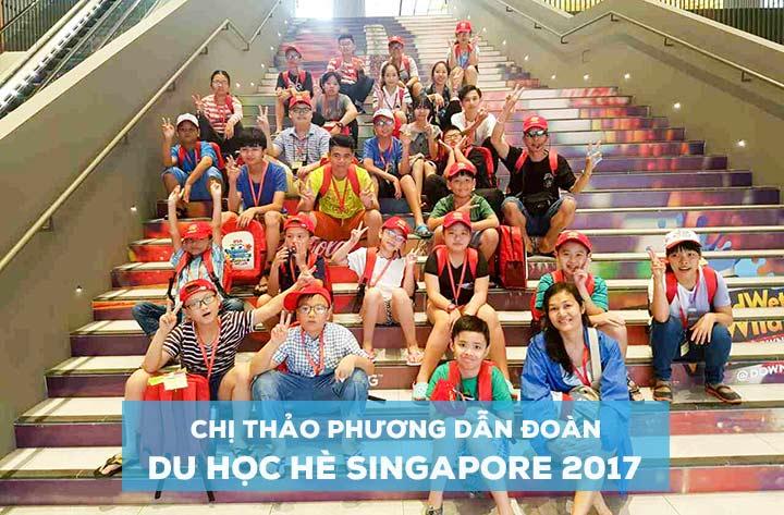 Chị Võ Ngọc Thảo Phương (Ngoài cùng bên phải) dẫn đoàn du học hè Singapore 2017